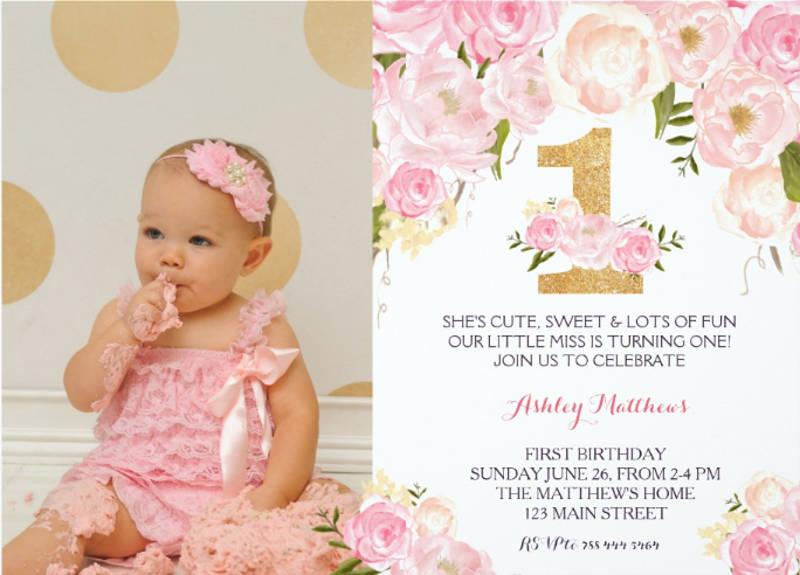 1st birthday floral invitation card
