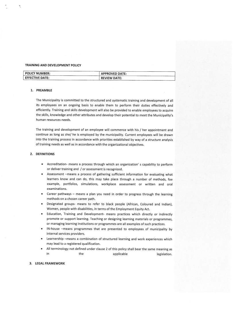 2 approved training and development policy