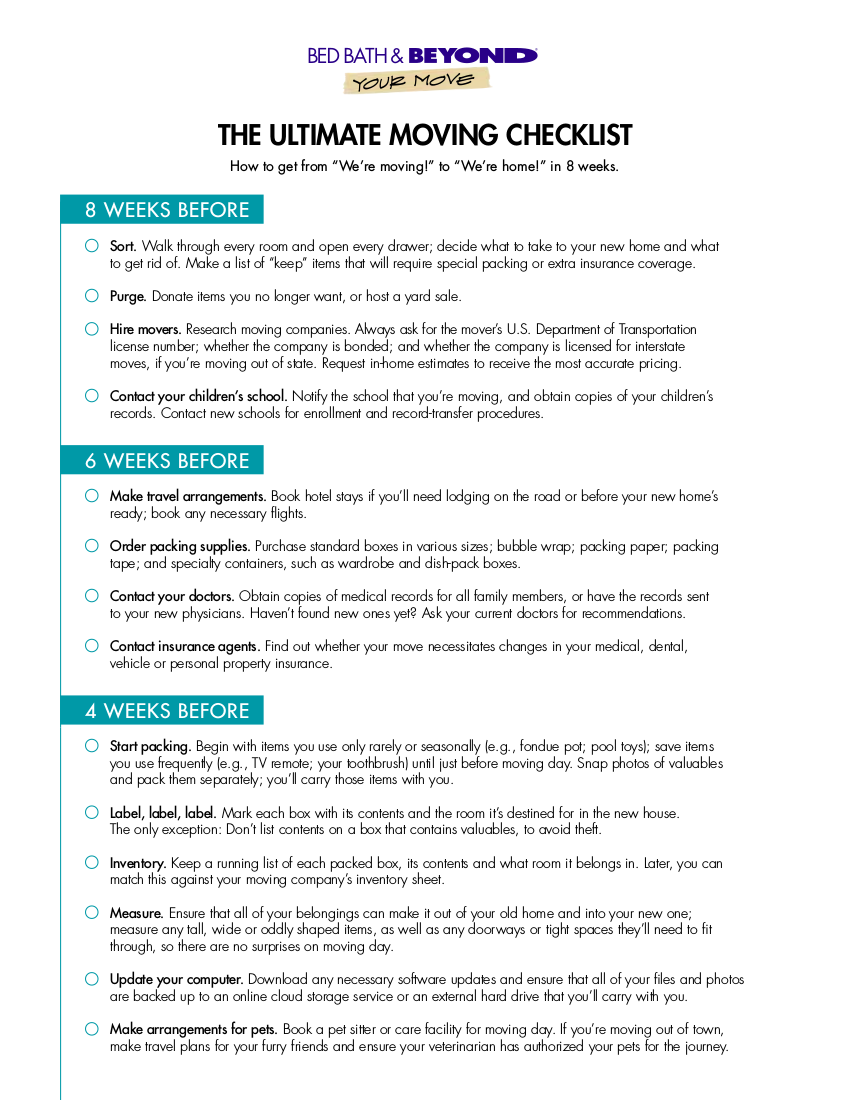 12 moving checklist examples samples in pdf for Checklist for moving into a new house