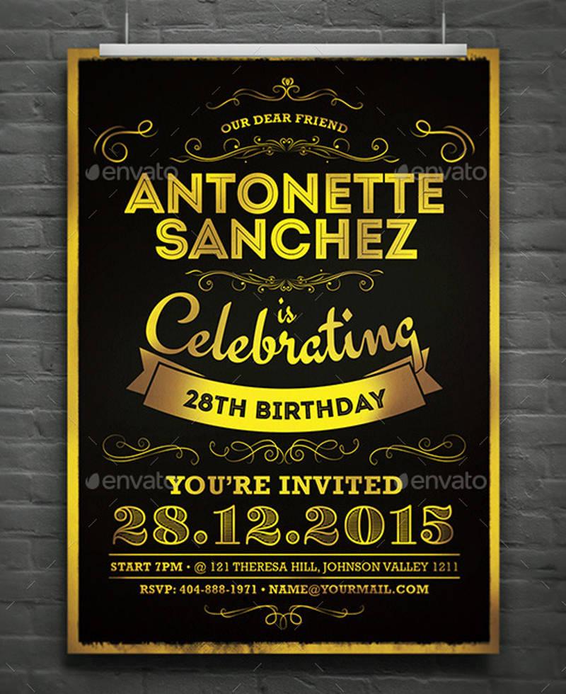 2 in 1 elegant birthday and christening invitation