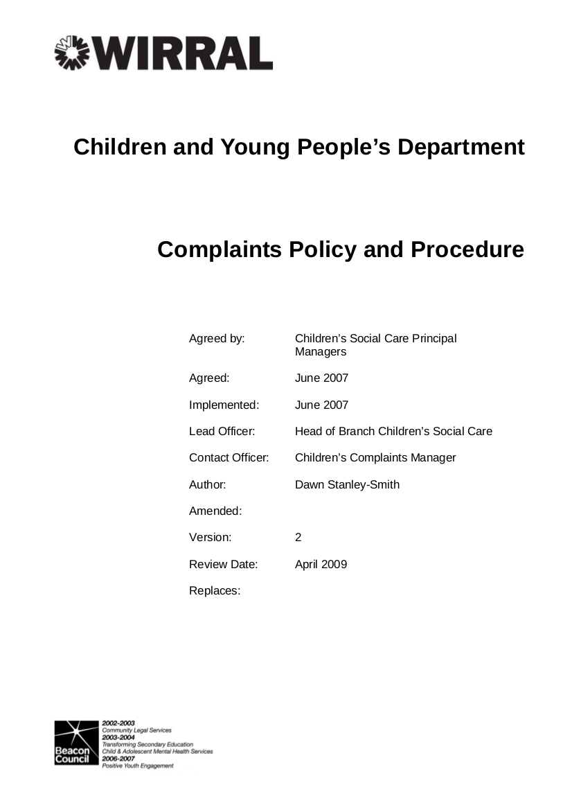 20 CYPD complaints policy and procedure