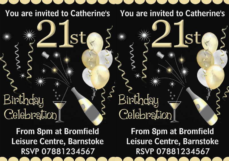 21st birthday party celebration invitation