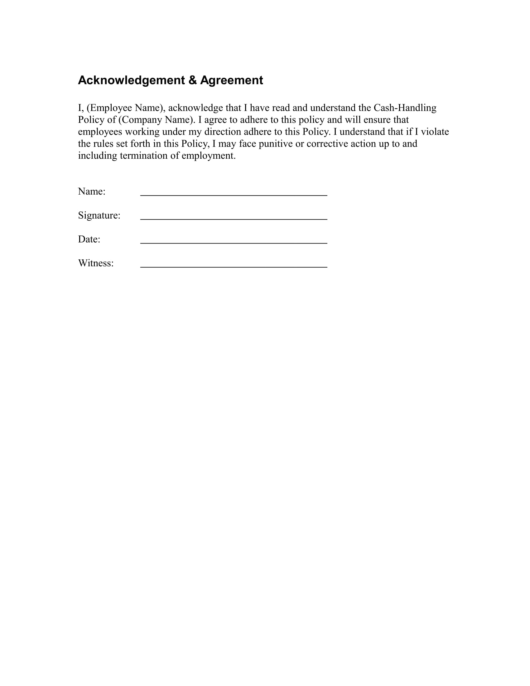 cash handling policy template