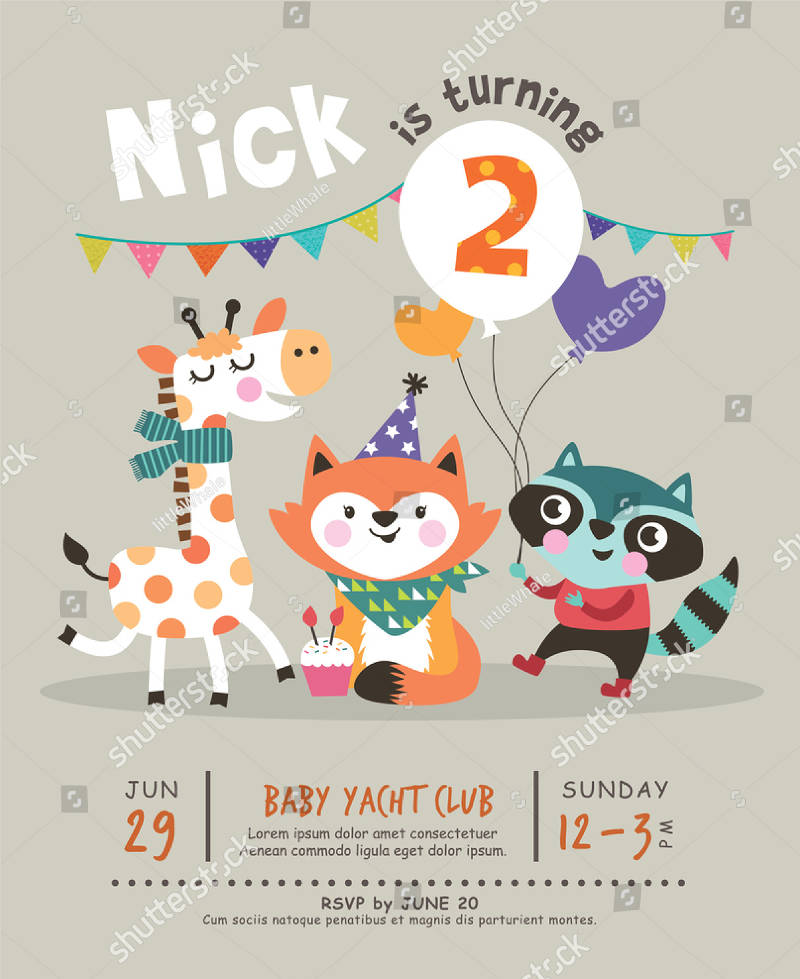 2nd happy birthday party invitation card