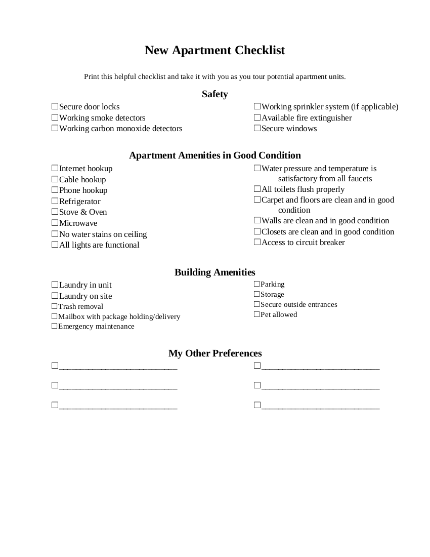 FREE 9+ New Apartment Checklist Examples in PDF | Google ...