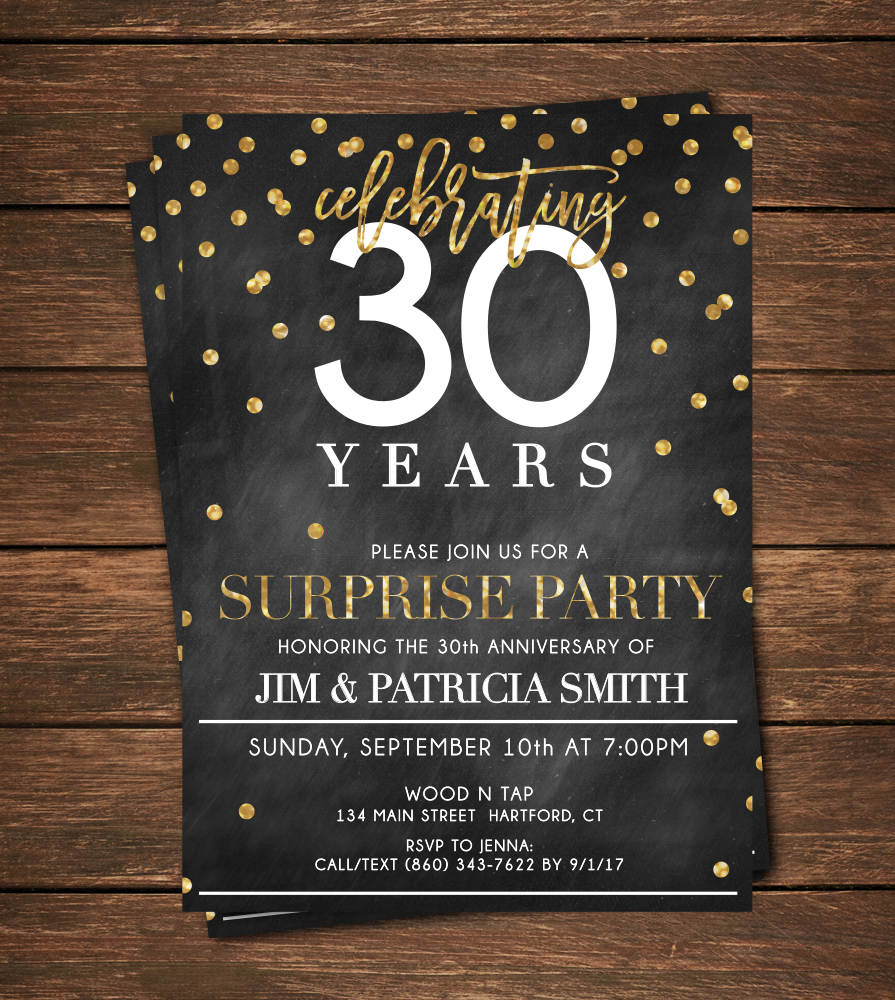 Famous 30th Surprise Party Invitations Crest - Invitations Design ...
