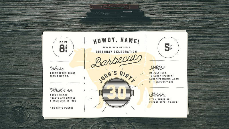 30th birthday bbq invitation