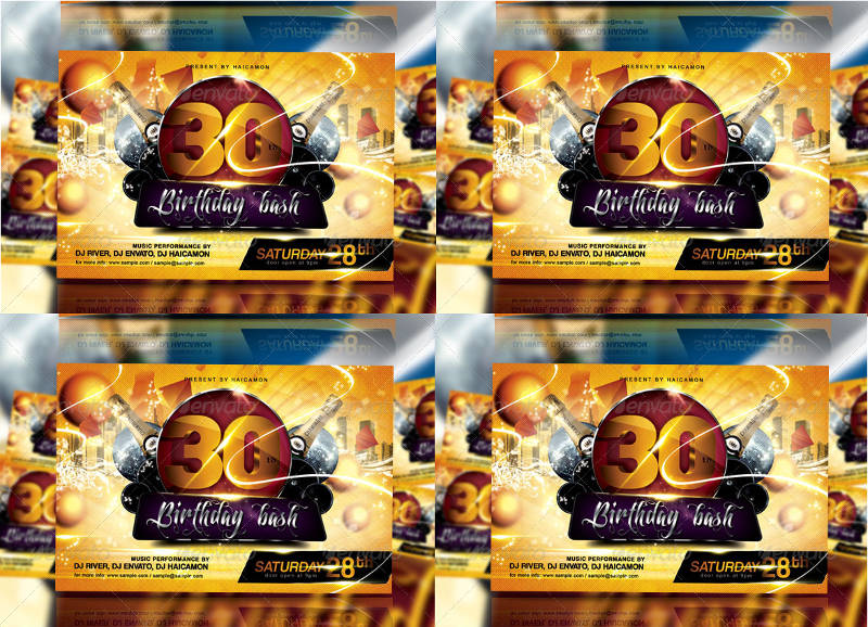 30th birthday bash party invitation