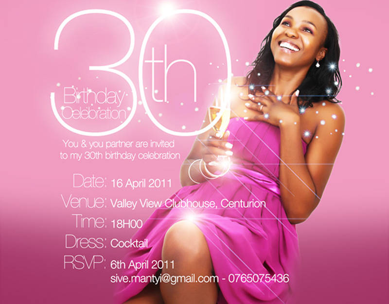 30th birthday celebration invitation design