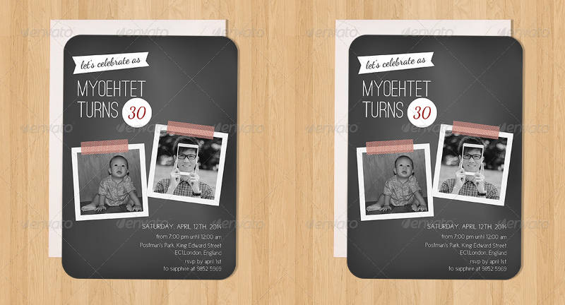 30th birthday invitaton in psd