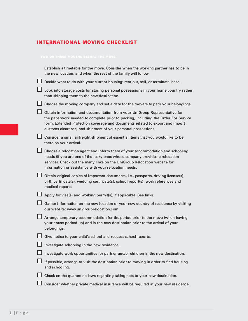 4 international moving checklist