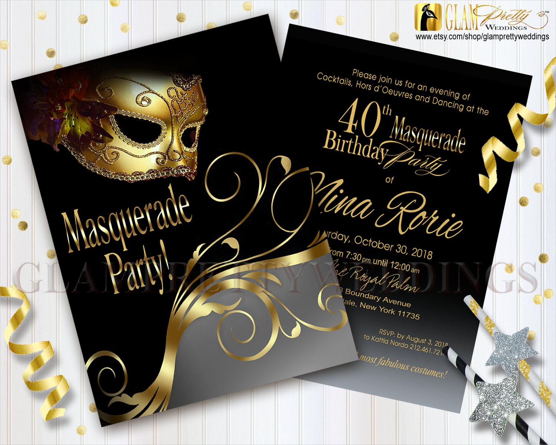 40th birthday masquerade invitation