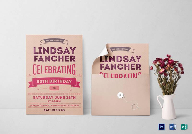 50th birthday invitation template