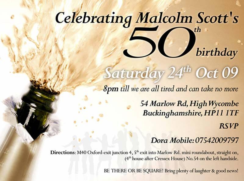 50th birthday celebrating invitation