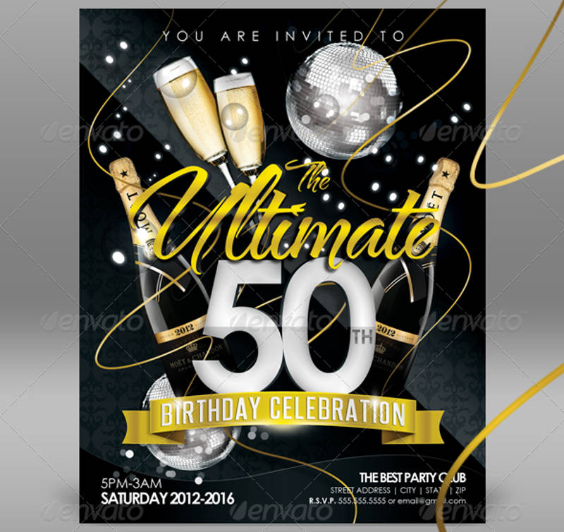50th birthday celebration invitation template