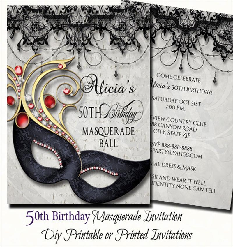 50th birthday masquerade party invitation