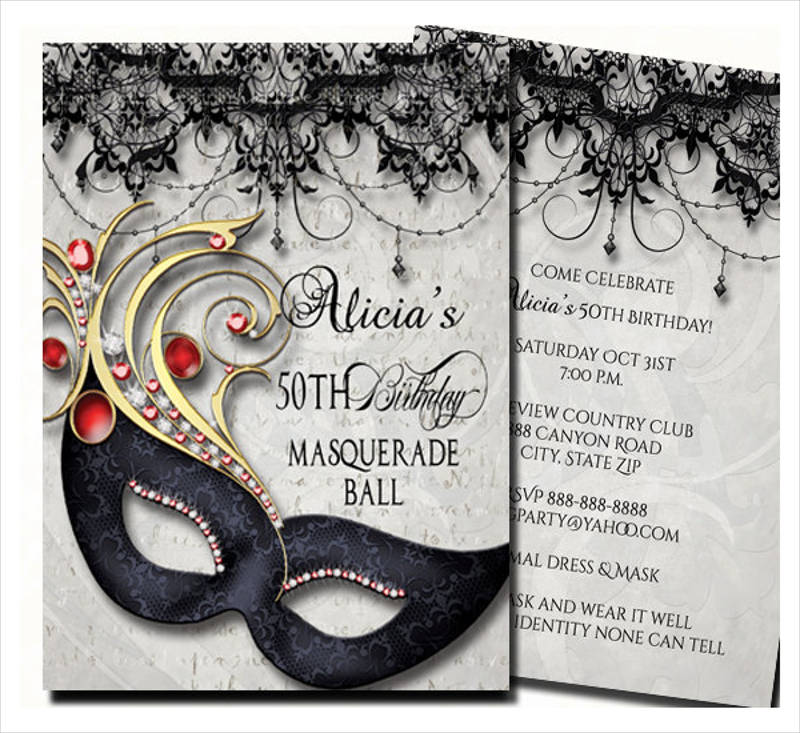 50th birthday masquerade party invitation1