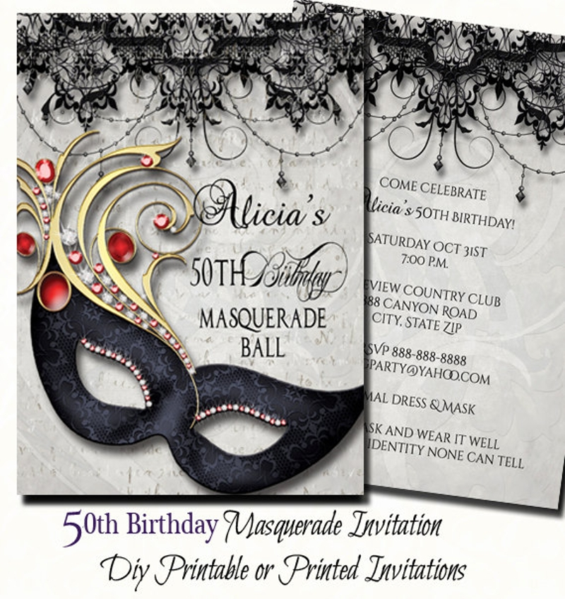 50th birthday masquerade party invitation2