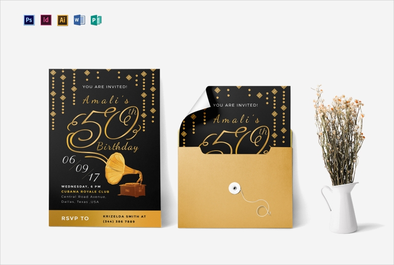50th birthday party invitation template2