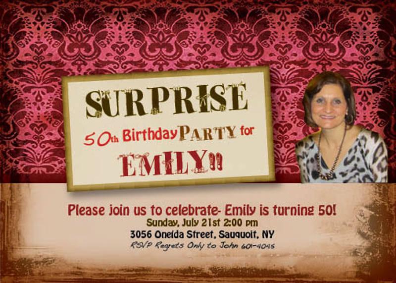 50th surprise birthday party invitation design