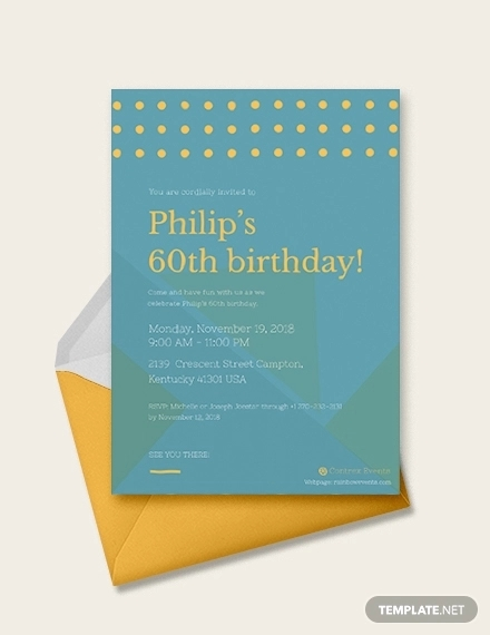 60th birthday invitation card example