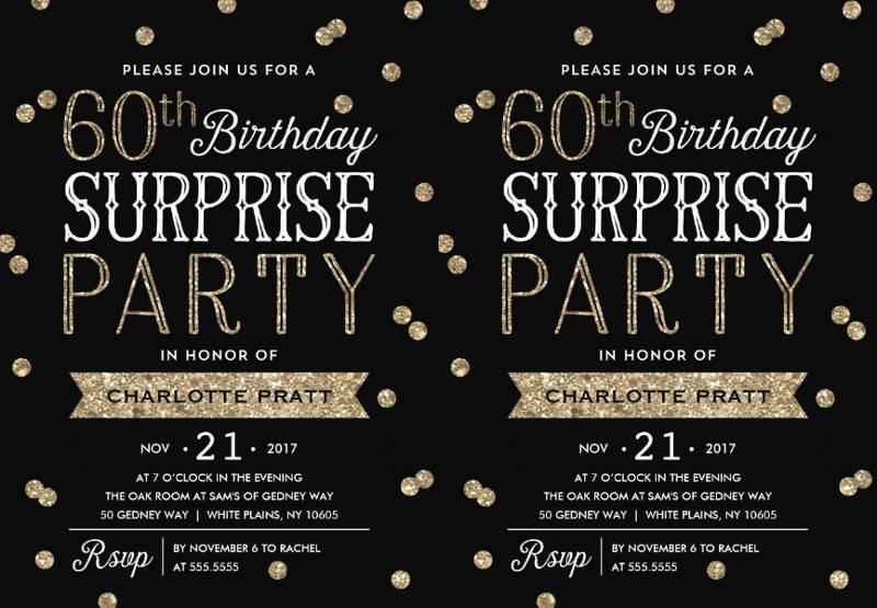 60th glitter surprise birthday party invitation