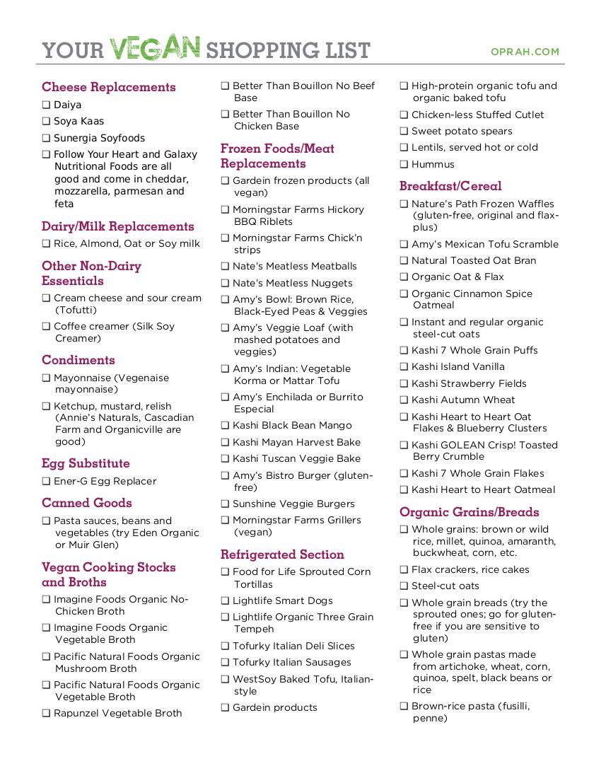 7 vegan shopping list