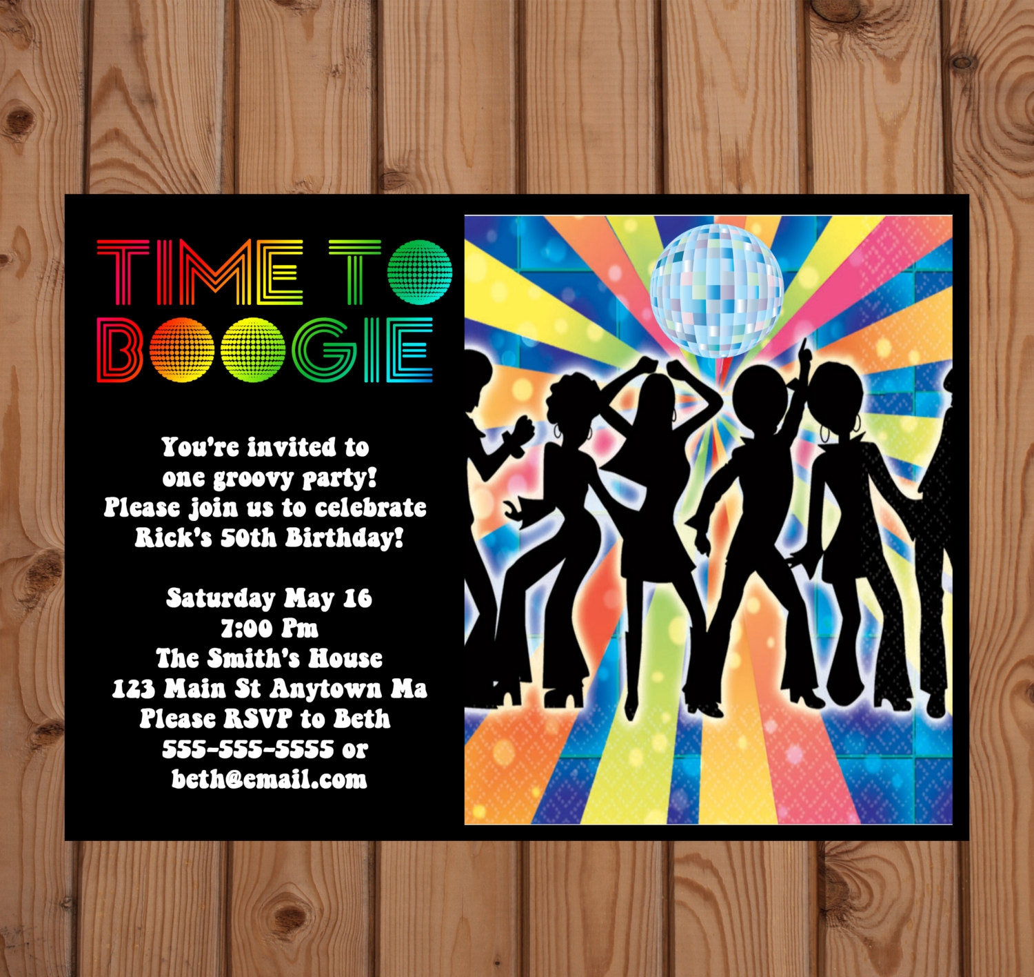 70s disco party invitation