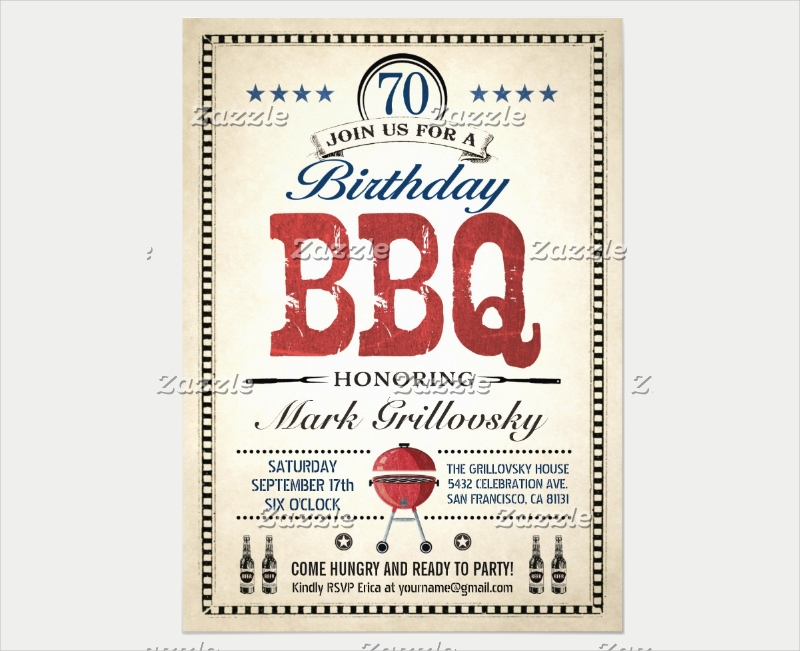 70th birthday bbq invitation
