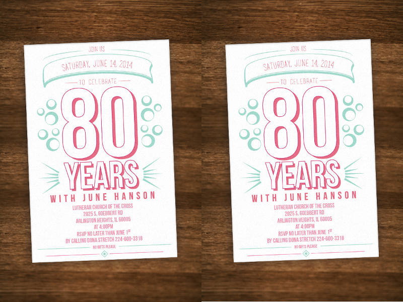 80th birthday celebrate invitation