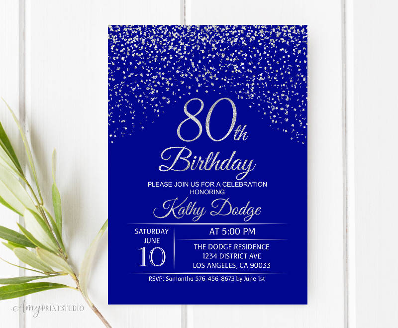 80th birthday celebration invitation