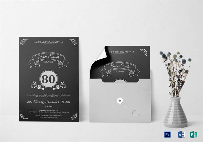 80th birthday party invitation template