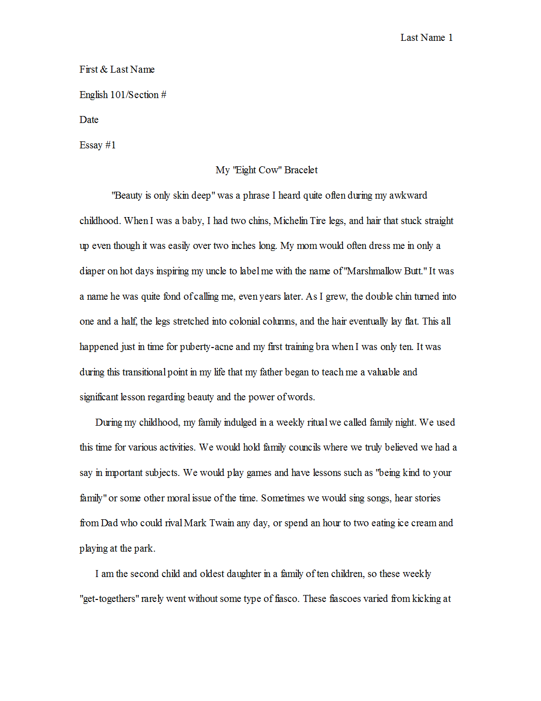 Story essay sample