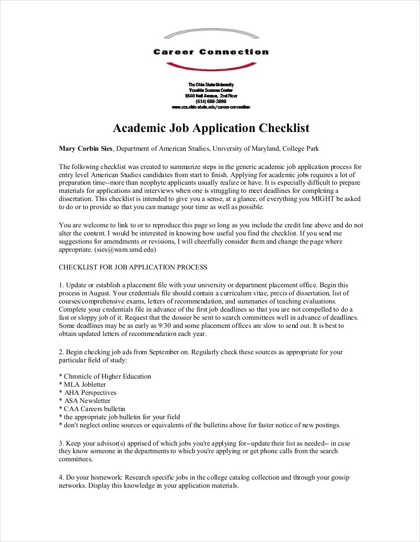 academic job application checklist2