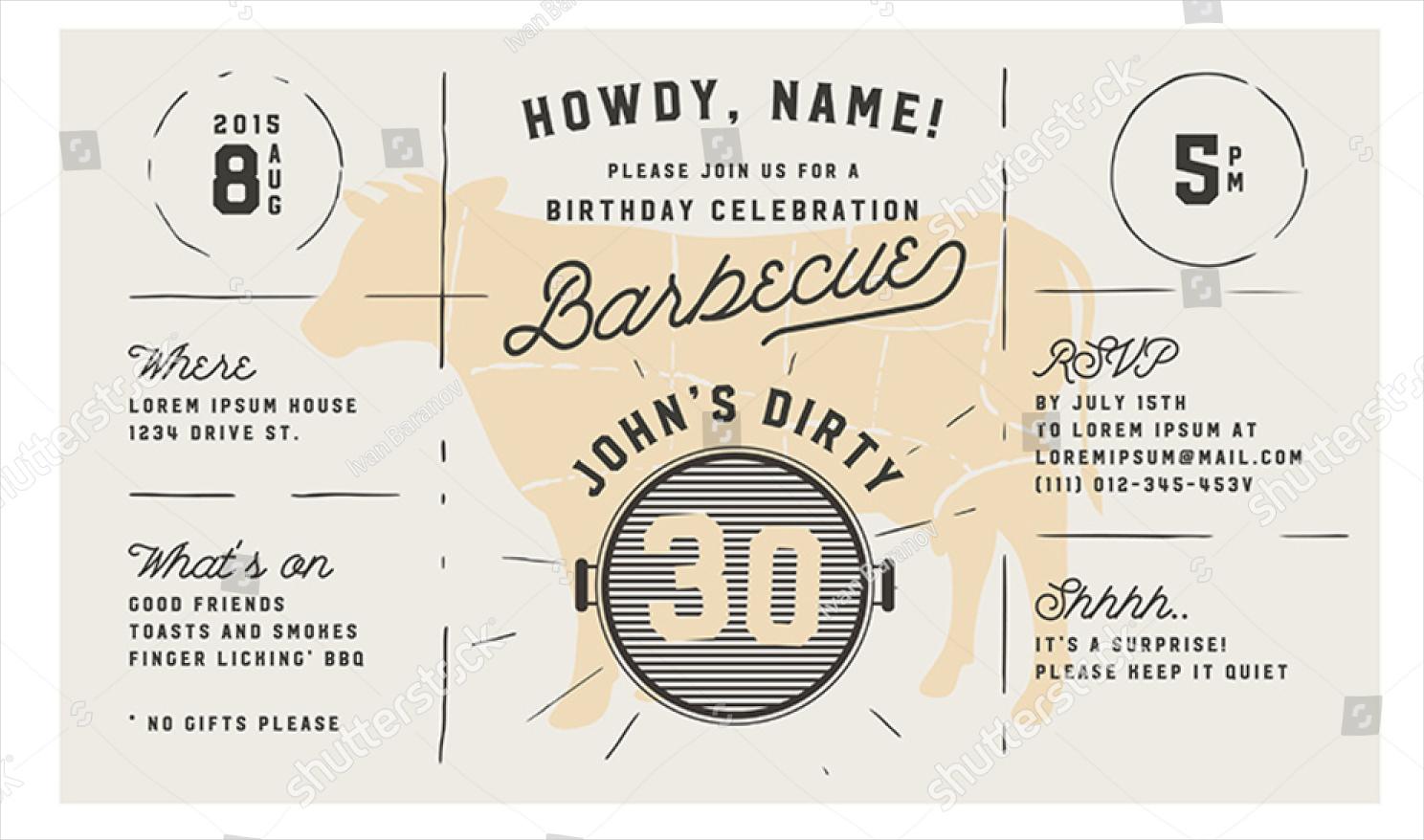 adult birthday bbq vintage invitation