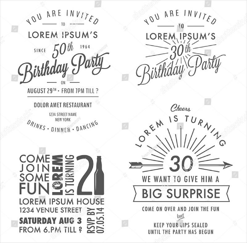 adult birthday invitation vintage