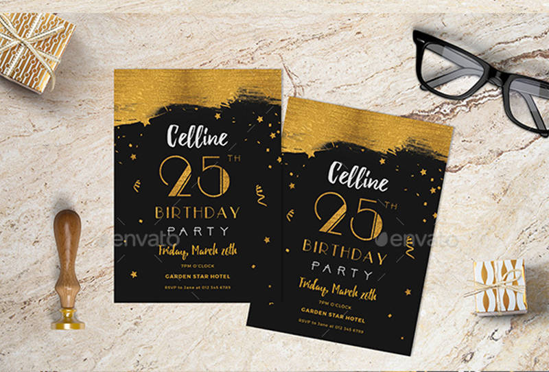 adult birthday invitation in psd format
