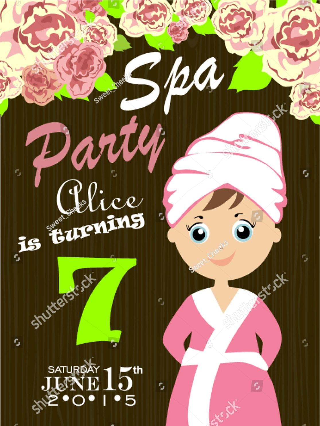 adult spa party invitation