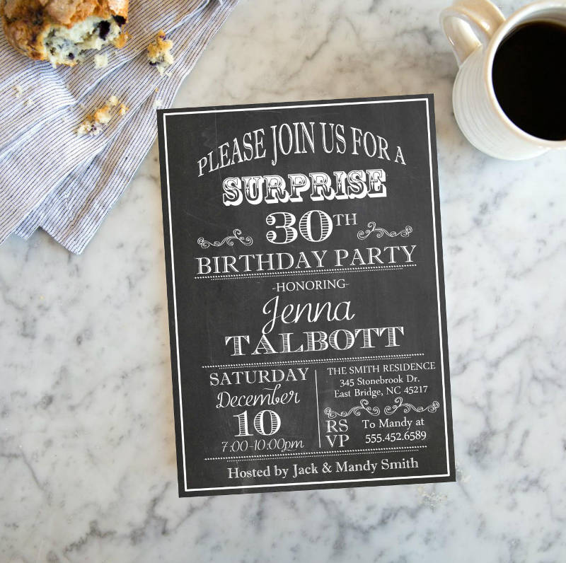 adult surprise chalkboard birthday invitation
