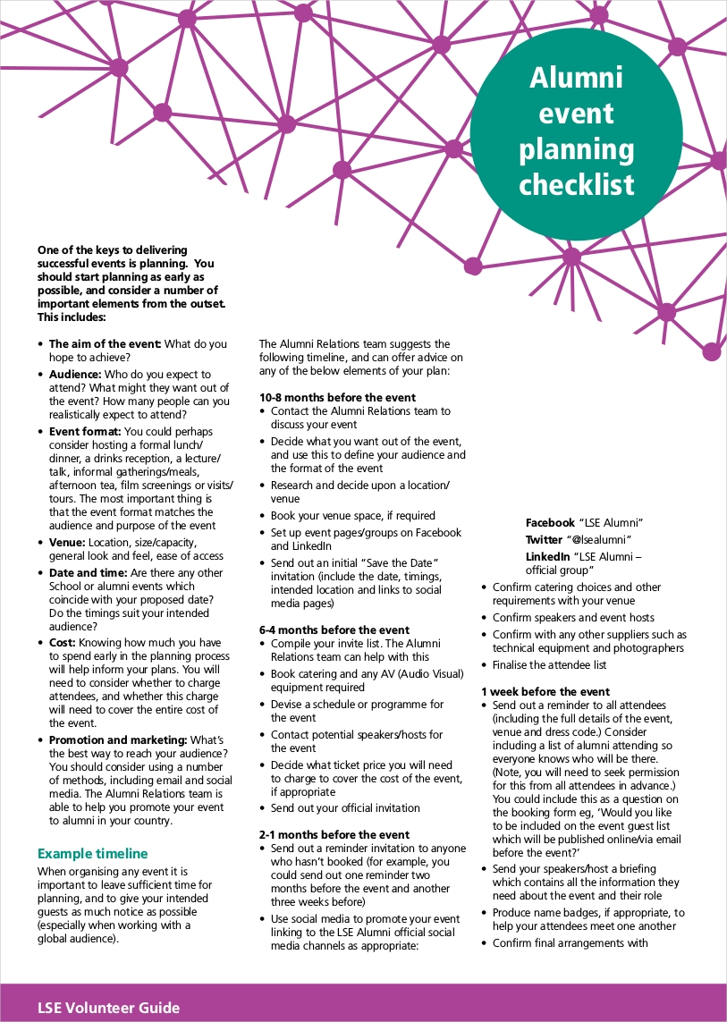 alumni event planning checklist sample1