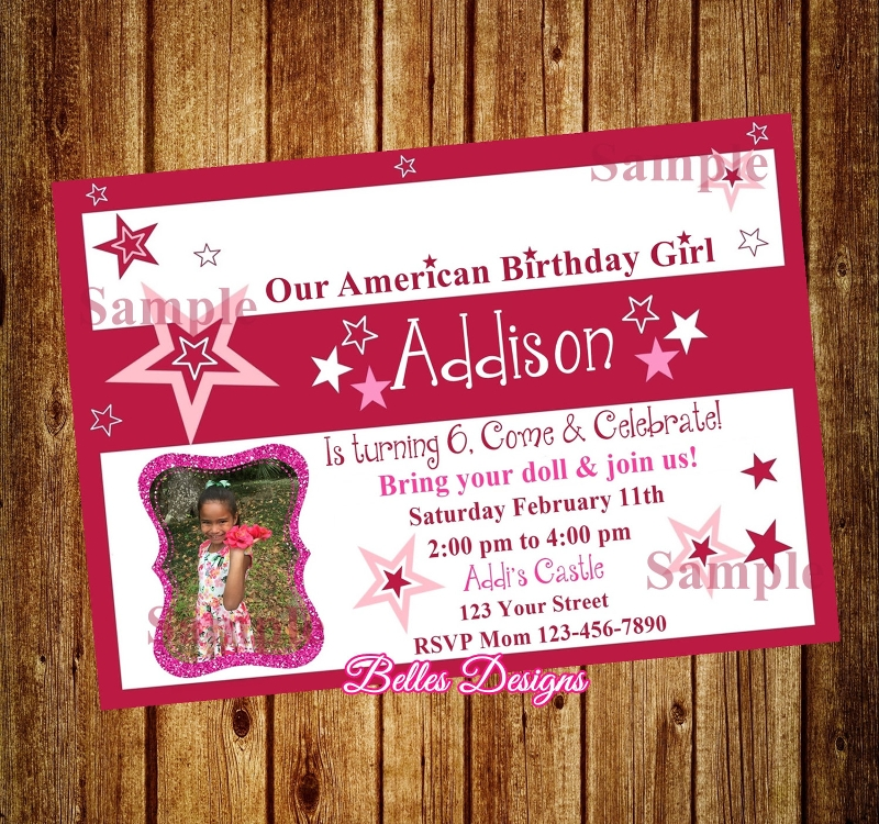 american girl birthday party invitation