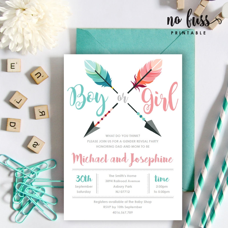 arrow gender reveal invitation