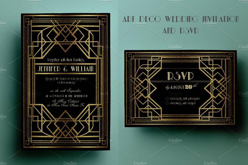 art deco wedding invitation and rsvp