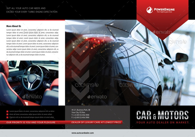 automotive car sale rental tri fold business brochure