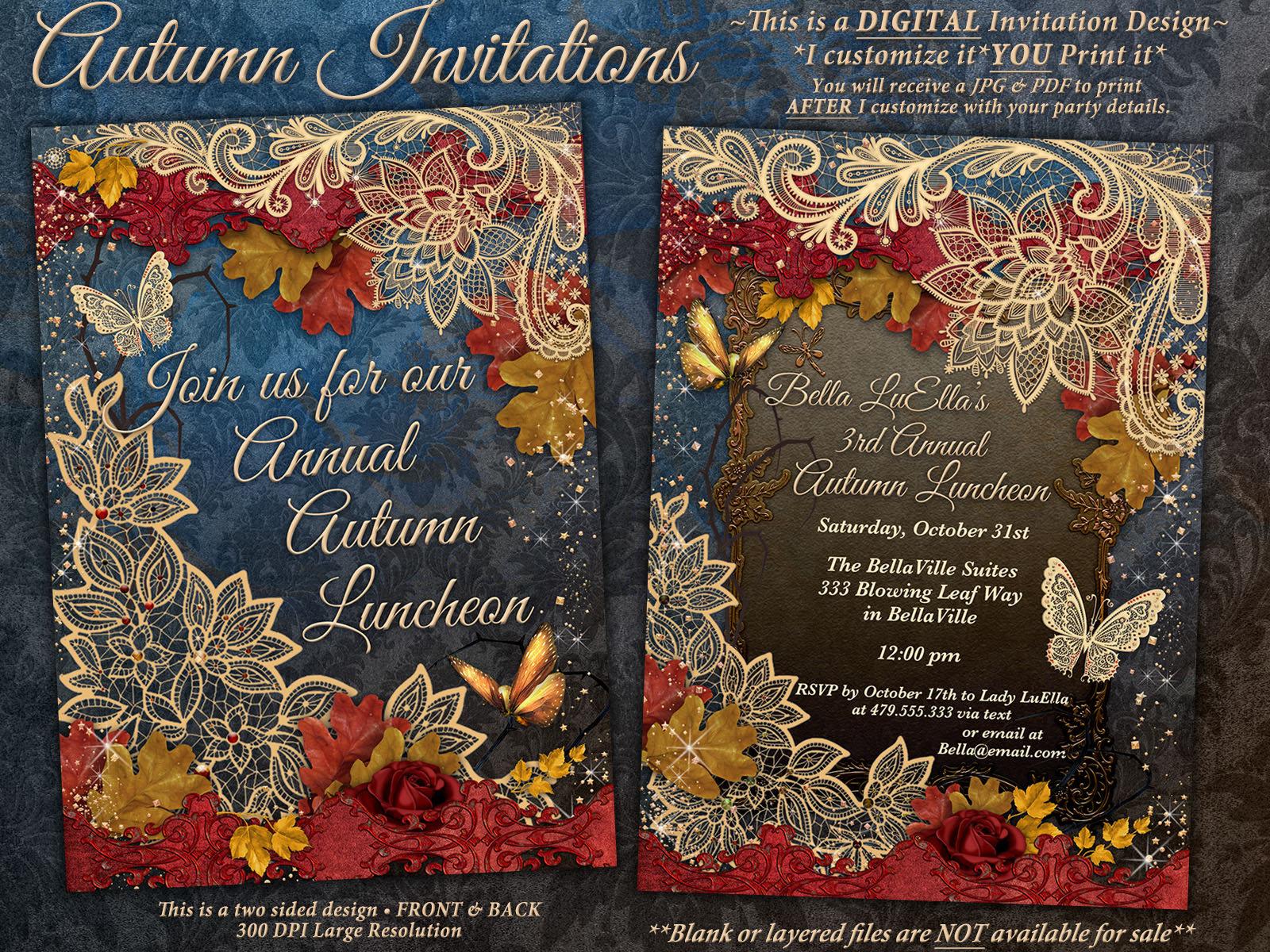 autumn fall luncheon invitation