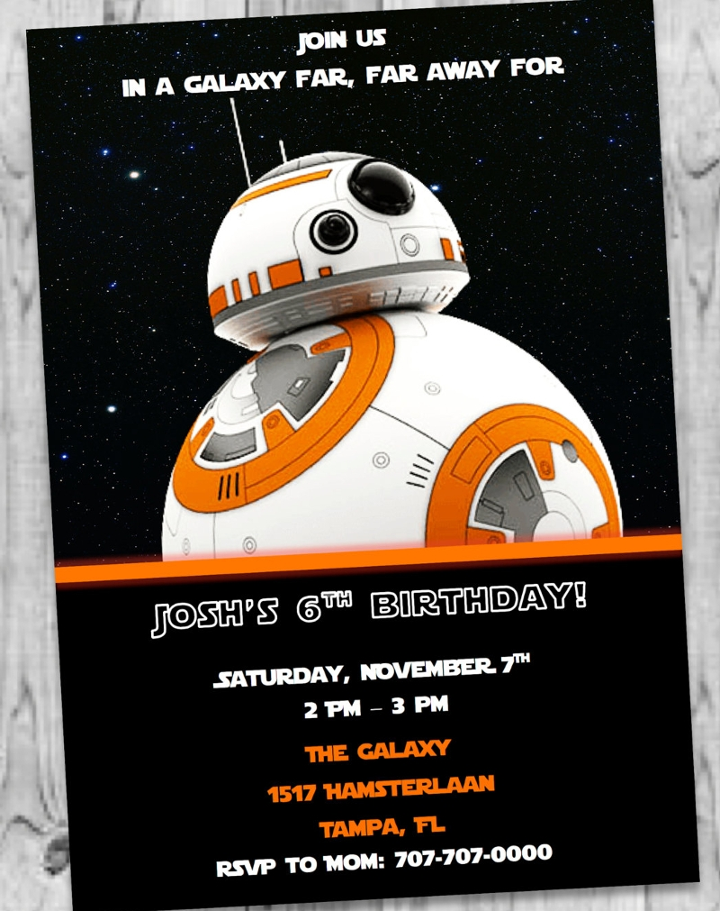 bb8 star wars invitation