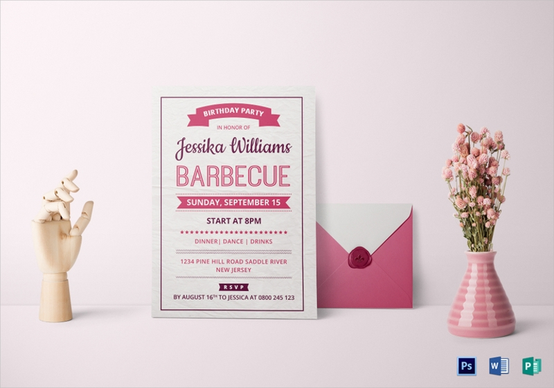 bbq birthday party invitation card template