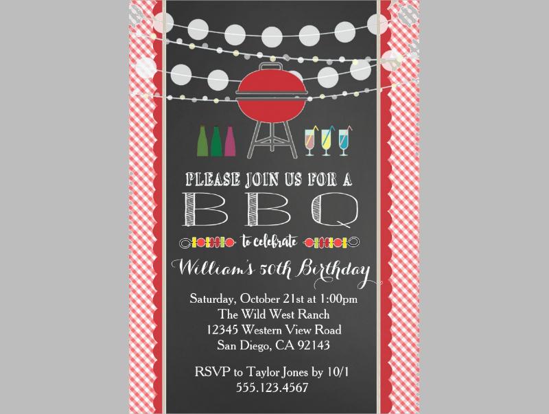 bbq party birthday retirement invitation