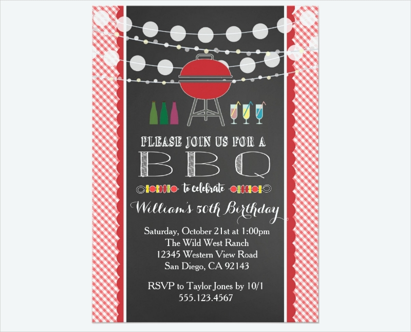 bbq party wedding retirement invitation