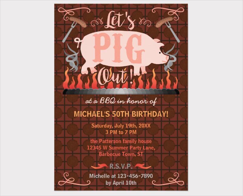 bbq summer birthday party invitation
